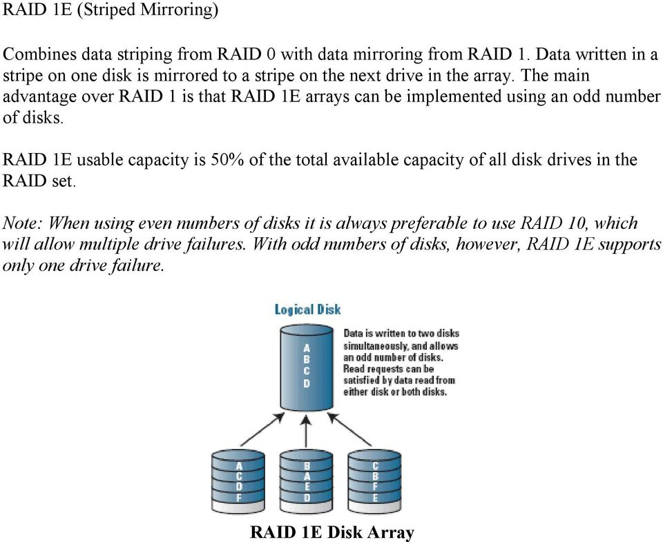 The main advantage over RAID 1 is that RAID 1E arrays can be implemented using an odd number of disks.