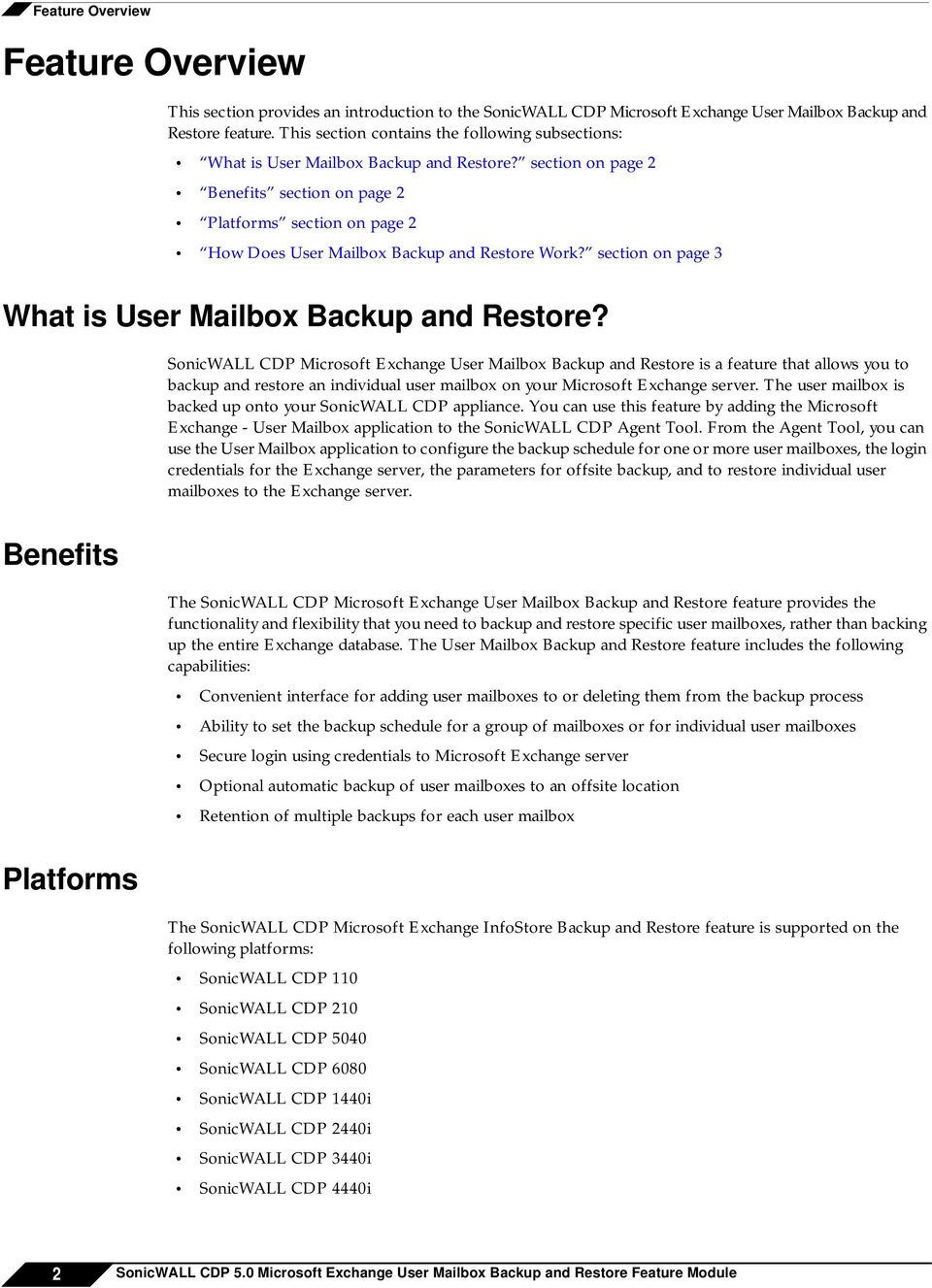 section on page 2 Benefits section on page 2 Platforms section on page 2 How Does User Mailbox Backup and Restore Work? section on page 3 What is User Mailbox Backup and Restore?