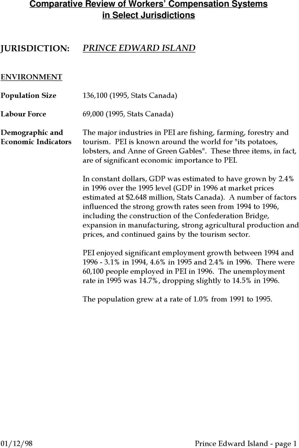 These three items, in fact, are of significant economic importance to PEI. In constant dollars, GDP was estimated to have grown by 2.