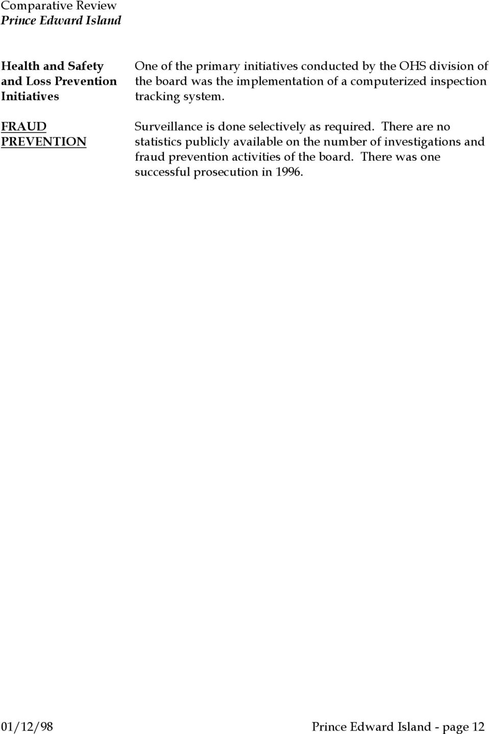 Surveillance is done selectively as required.