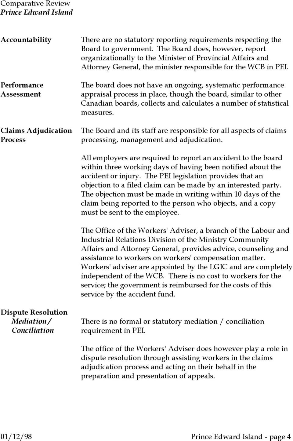 The board does not have an ongoing, systematic performance appraisal process in place, though the board, similar to other Canadian boards, collects and calculates a number of statistical measures.