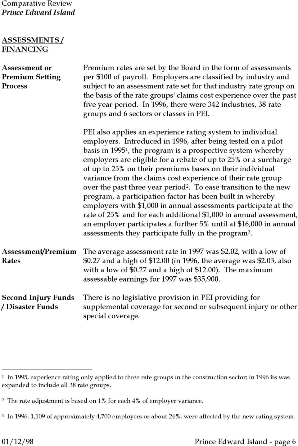 In 1996, there were 342 industries, 38 rate groups and 6 sectors or classes in PEI. PEI also applies an experience rating system to individual employers.