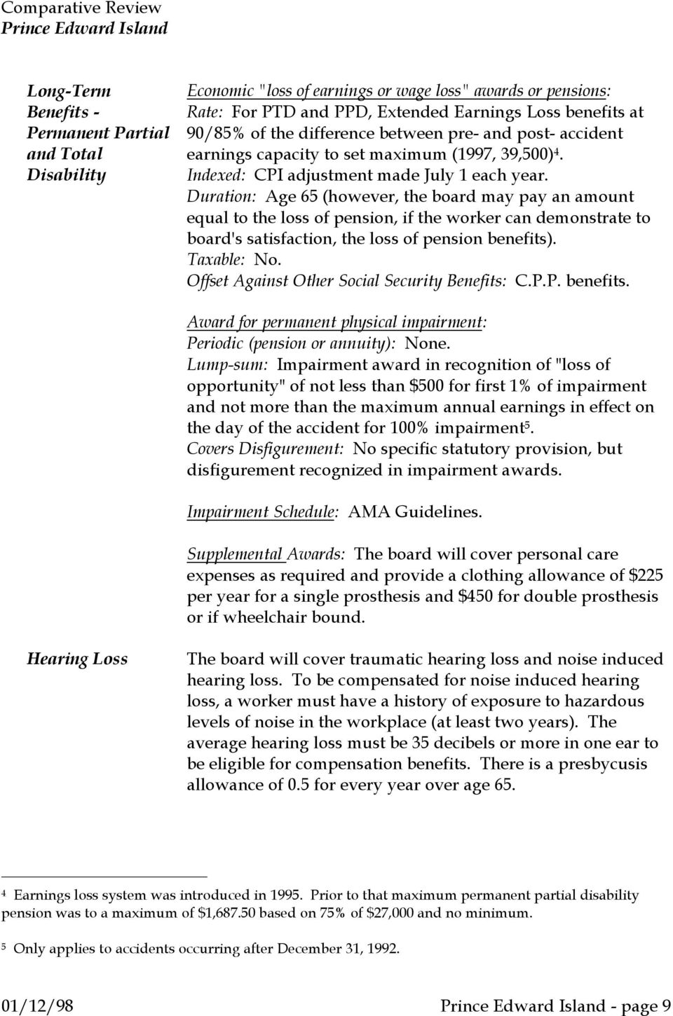 Duration: Age 65 (however, the board may pay an amount equal to the loss of pension, if the worker can demonstrate to board's satisfaction, the loss of pension benefits). Taxable: No.