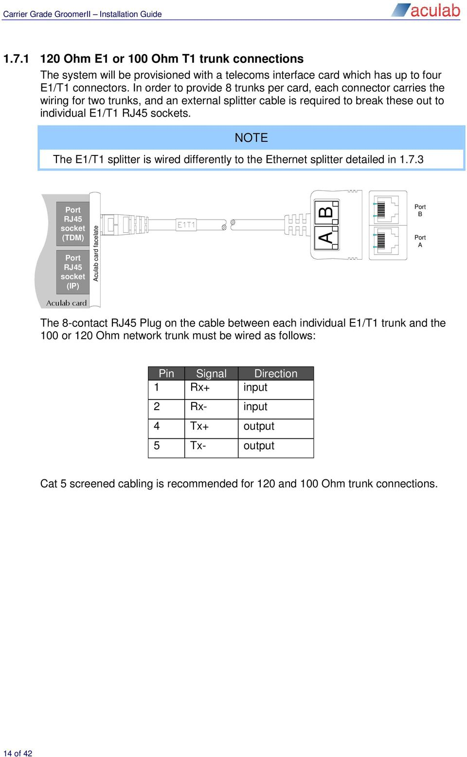 Aculab Groomerii 1u Carrier Grade Chassis Installation Guide Wiring Rj45 Socket A Or B Note The E1 T1 Splitter Is Wired Differently To Ethernet Detailed In 17
