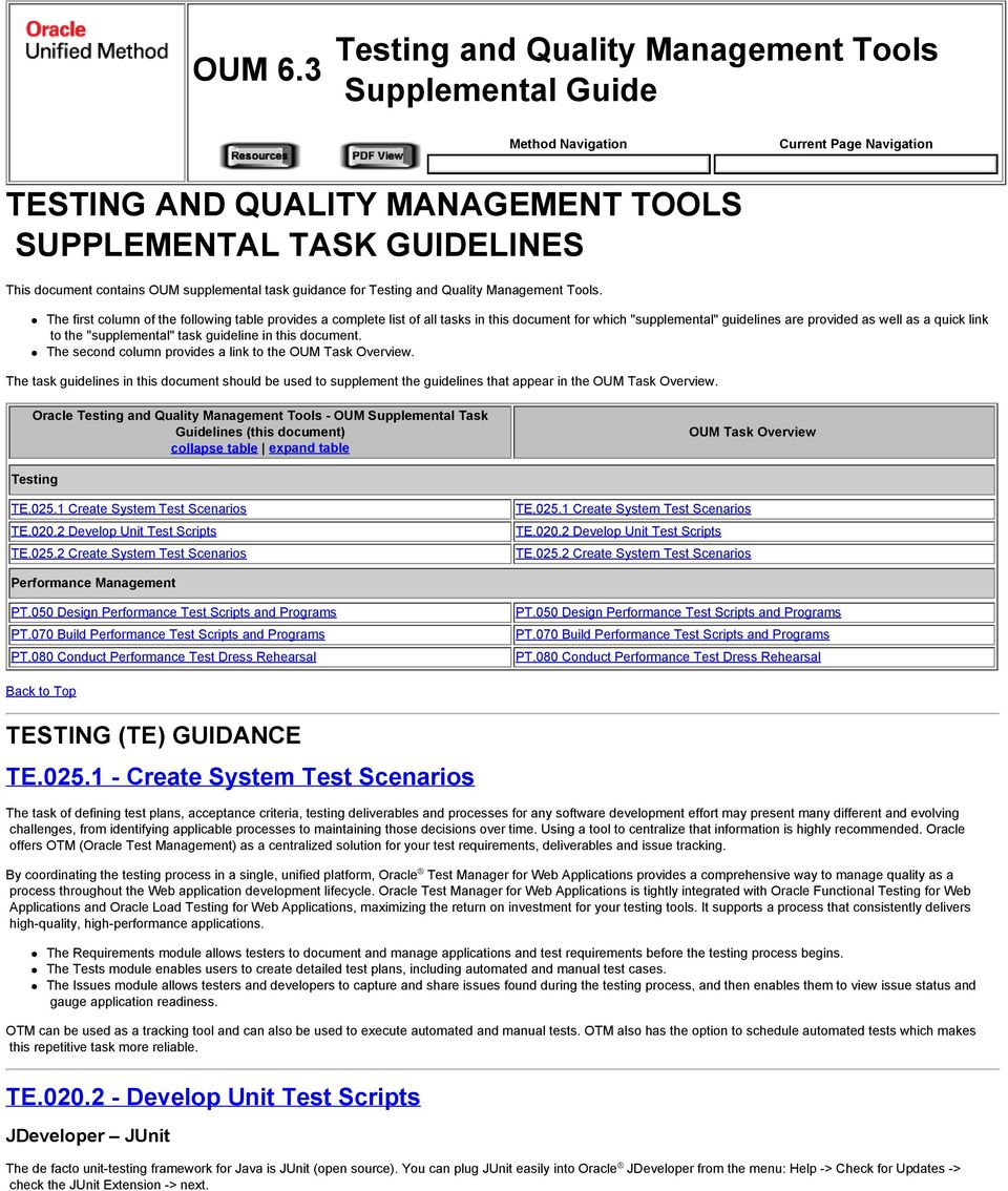 supplemental task guidance for Testing and Quality Management Tools.