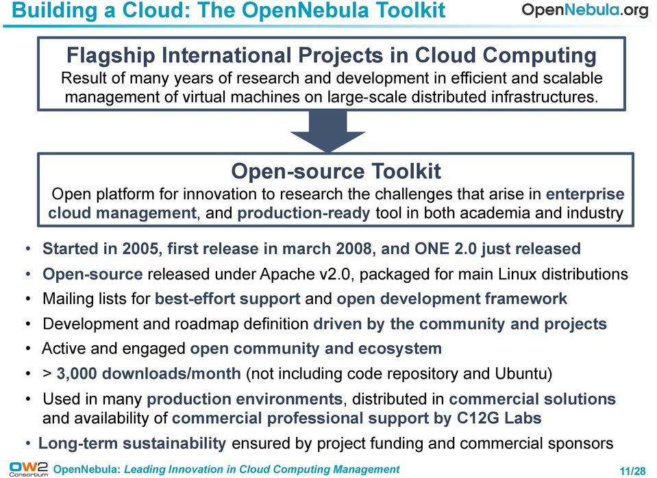 Open-source Toolkit Open platform for innovation to research the challenges that arise in enterprise cloud management, and production-ready tool in both academia and industry Started in 2005, first