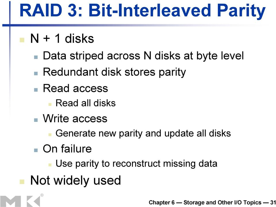 access Generate new parity and update all disks On failure Use parity to