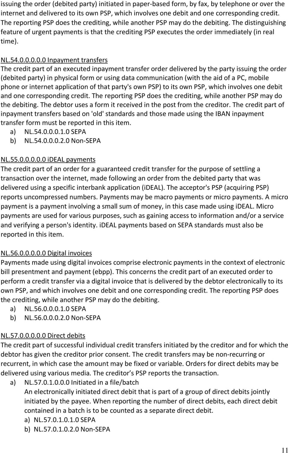 54.0.0.0.0.0 Inpayment transfers The credit part of an executed inpayment transfer order delivered by the party issuing the order (debited party) in physical form or using data communication (with