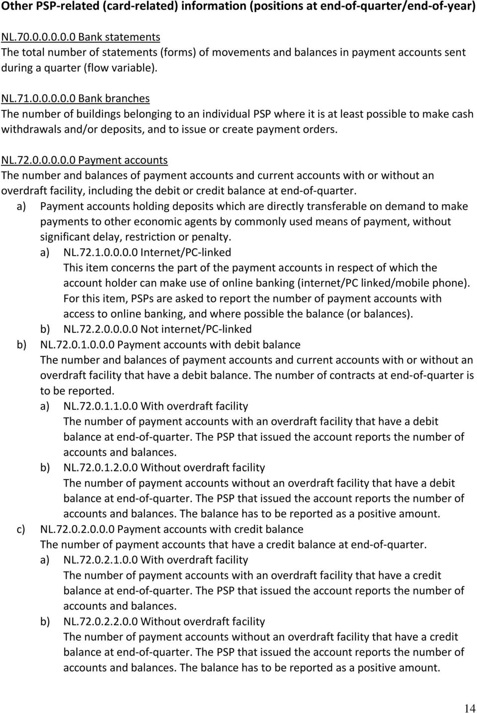 NL.72.0.0.0.0.0 Payment accounts The number and balances of payment accounts and current accounts with or without an overdraft facility, including the debit or credit balance at end-of-quarter.