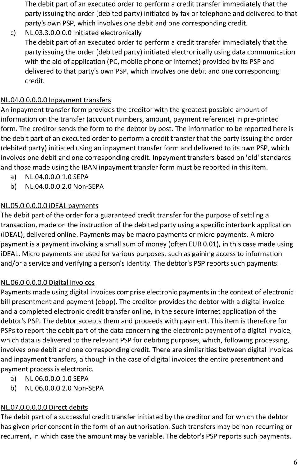 .3.0.0.0.0 Initiated electronically The debit part of an executed order to perform a credit transfer immediately that the party issuing the order (debited party) initiated electronically using data