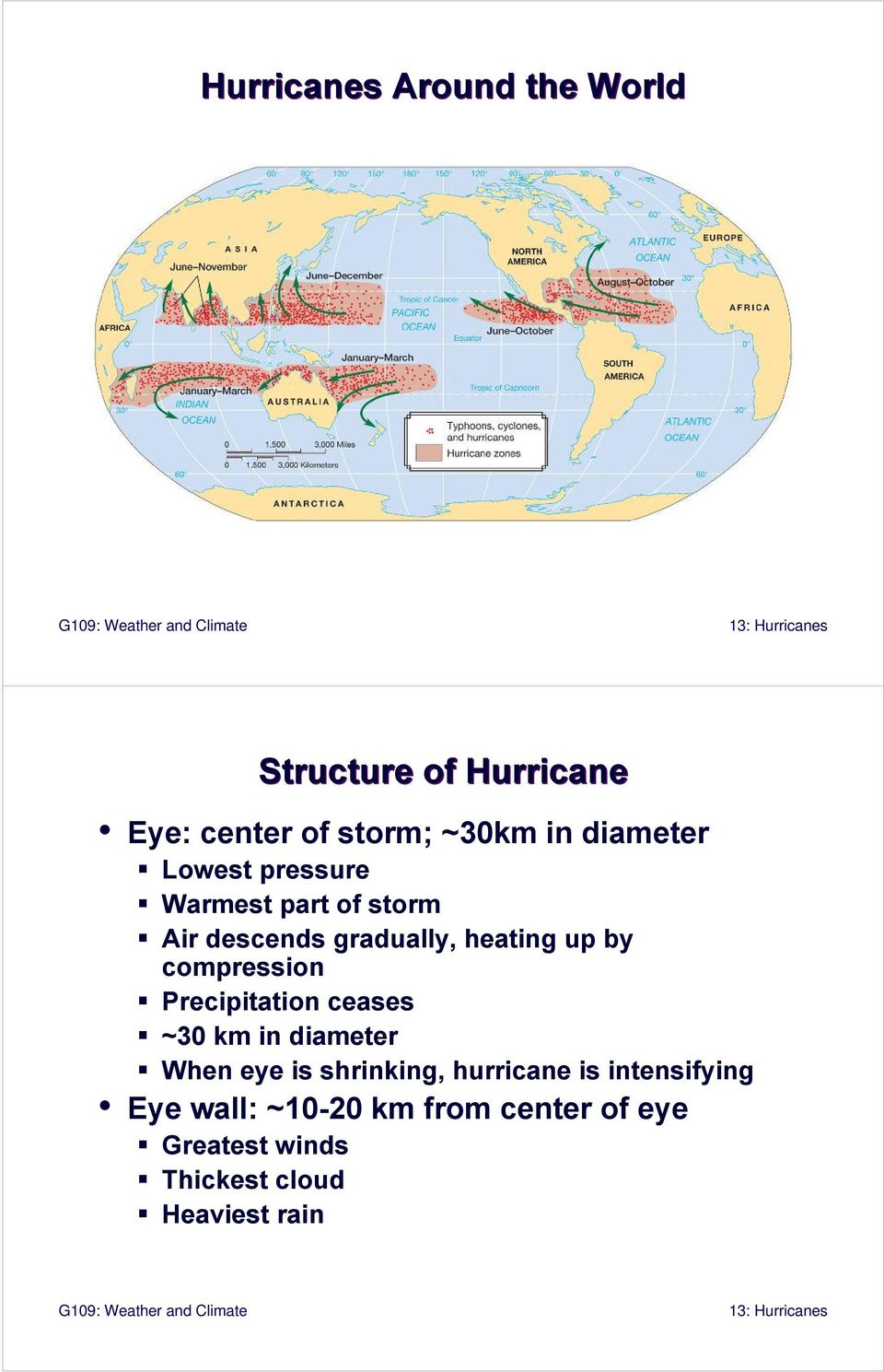compression Precipitation ceases ~30 km in diameter When eye is shrinking, hurricane is