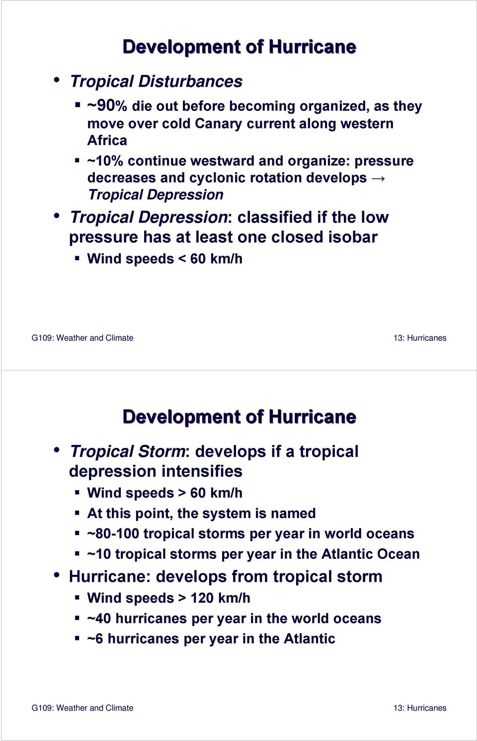 of Hurricane Tropical Storm: develops if a tropical depression intensifies Wind speeds > 60 km/h At this point, the system is named ~80-100 tropical storms per year in world oceans ~10