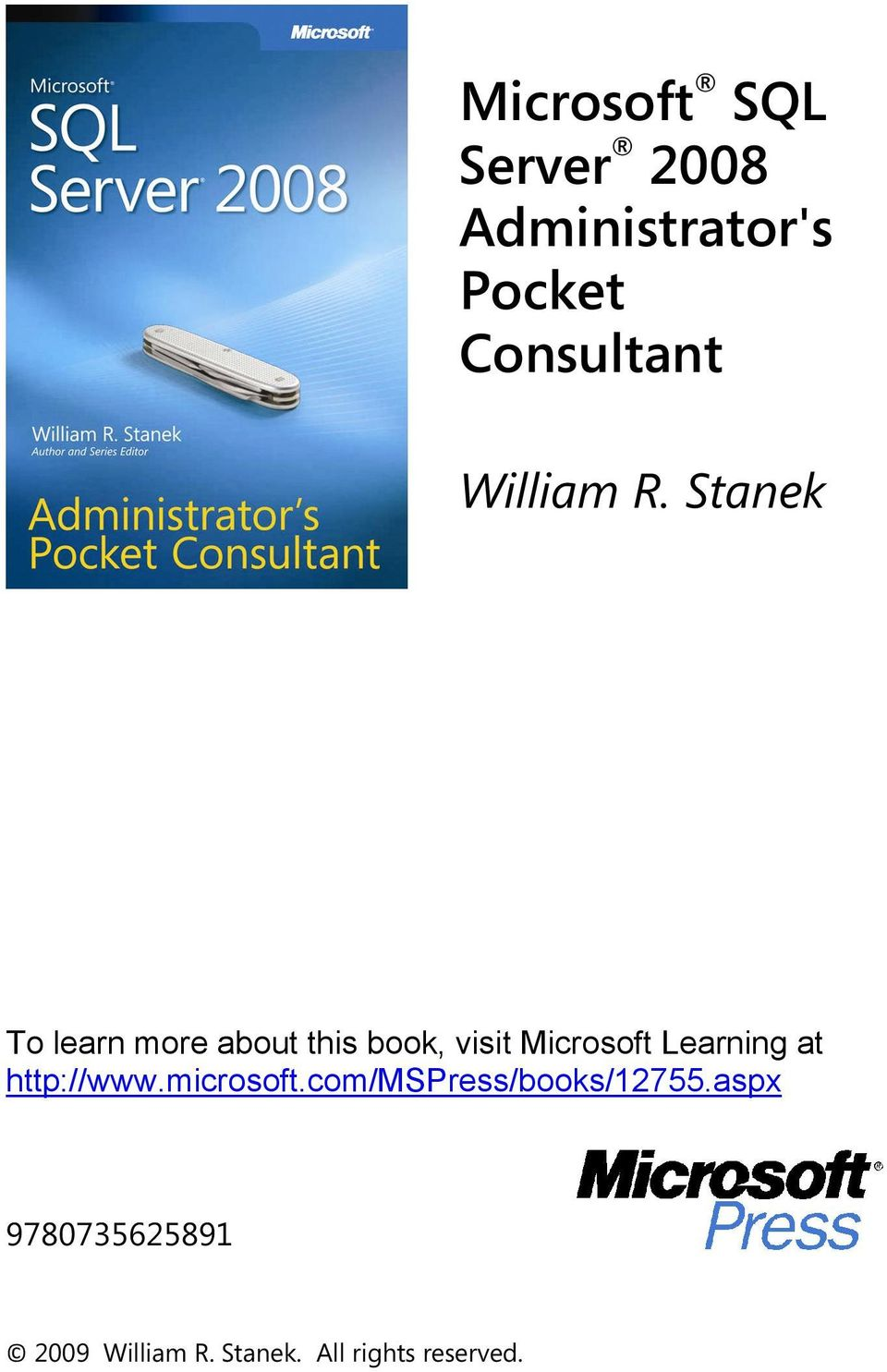 Stanek To learn more about this book, visit Microsoft