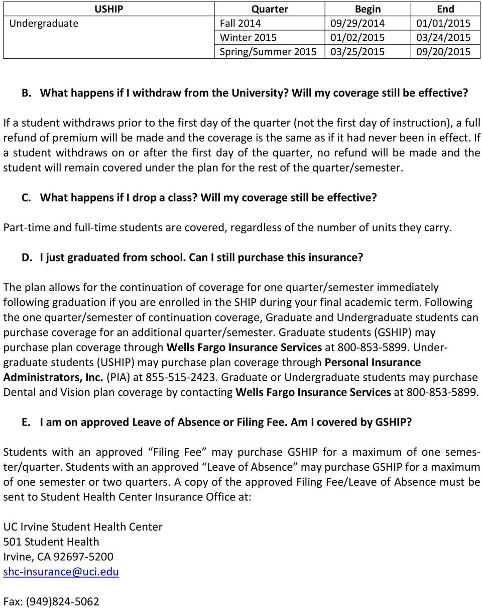 UC IRVINE STUDENT HEALTH INSURANCE PLAN FREQUENTLY ASKED