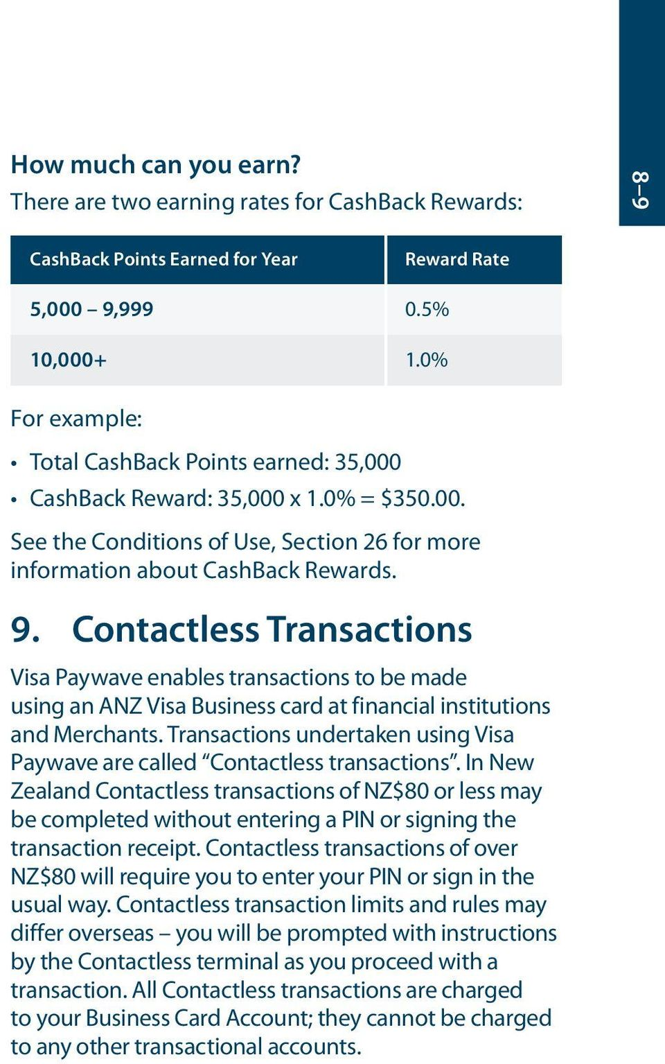 Contactless Transactions Visa Paywave enables transactions to be made using an ANZ Visa Business card at financial institutions and Merchants.