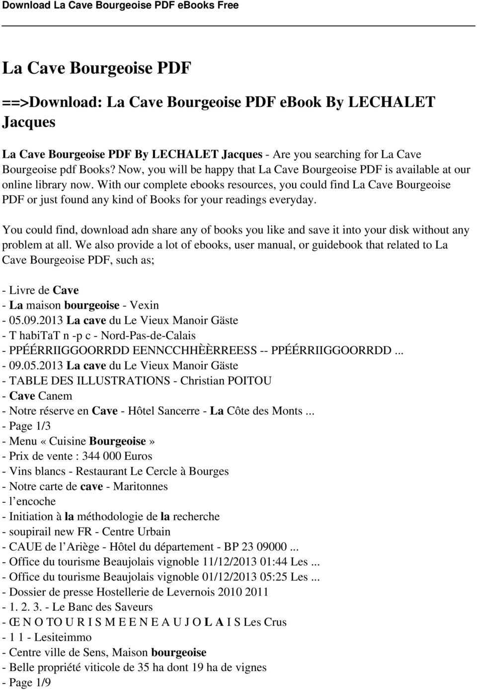 La cave bourgeoise pdf pdf with our complete ebooks resources you could find la cave bourgeoise pdf or just found fandeluxe Image collections