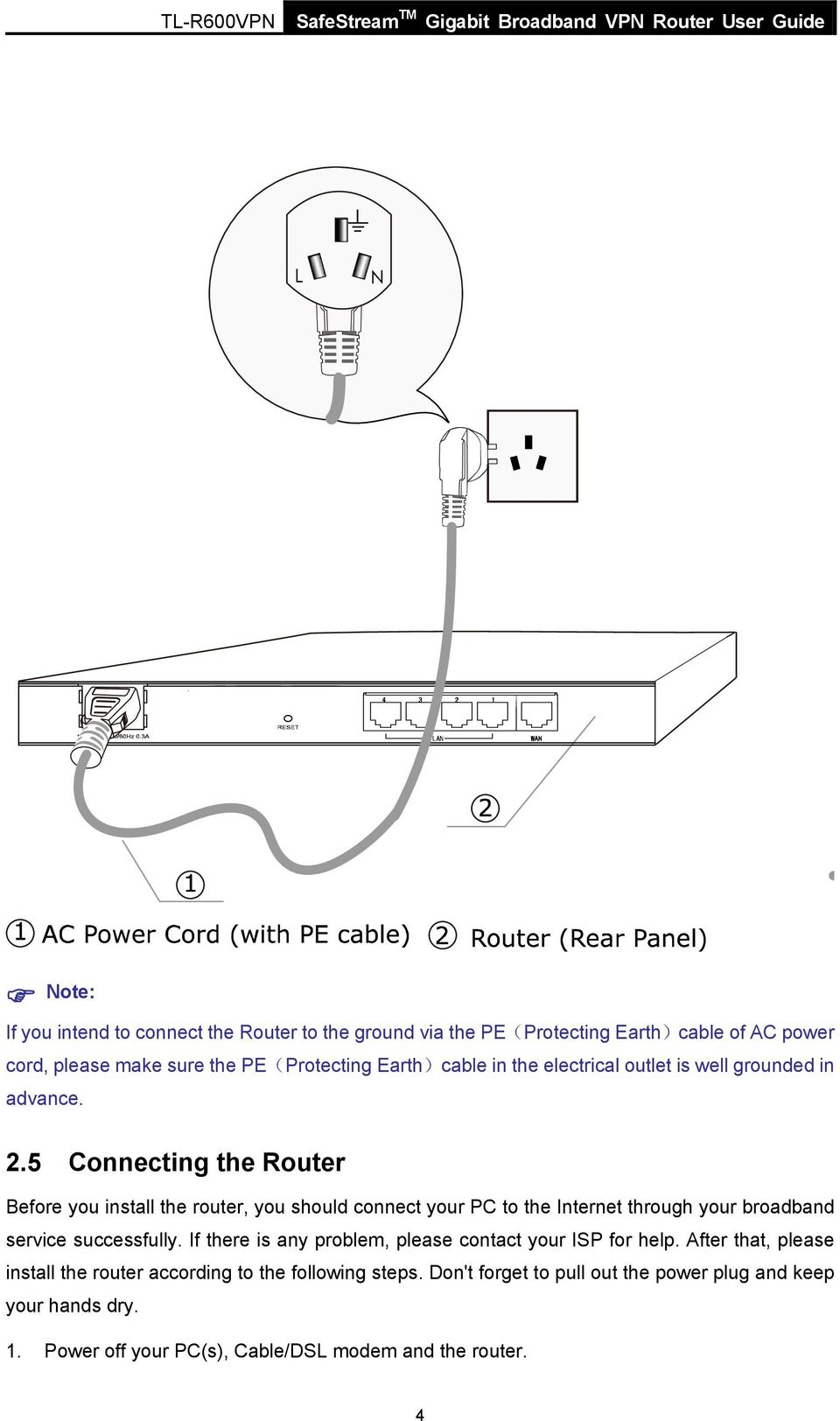 Tl R600vpn Safestream Tm Gigabit Broadband Vpn Router Rev Pdf Link To Diagram Of Internet Connection With Cable Dsl 5 Connecting The Before You Install Should Connect Your Pc