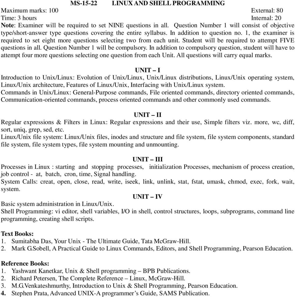 SCHEME OF EXAMINATION FOR MASTER OF COMPUTER SCIENCE