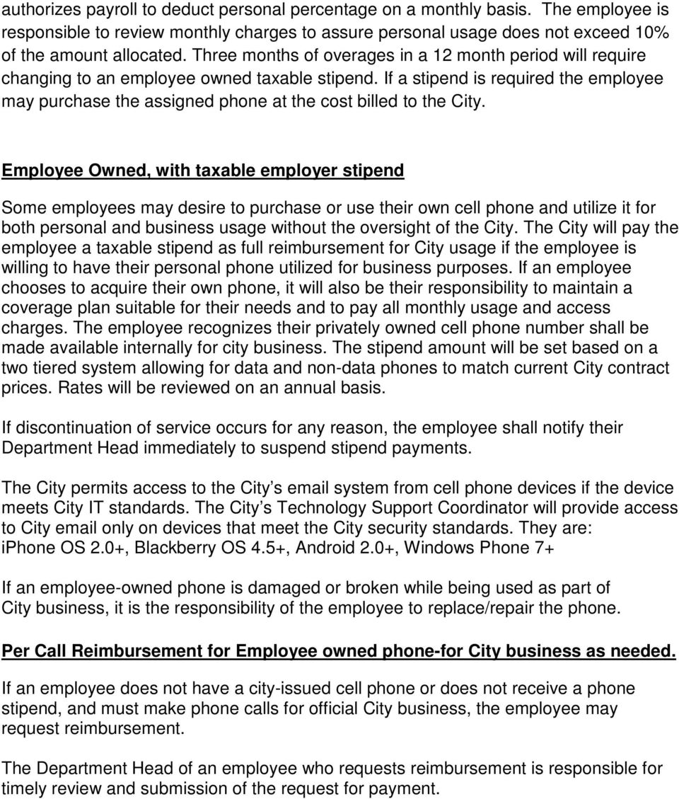 City Of Saline Cell Phone Policy Pdf