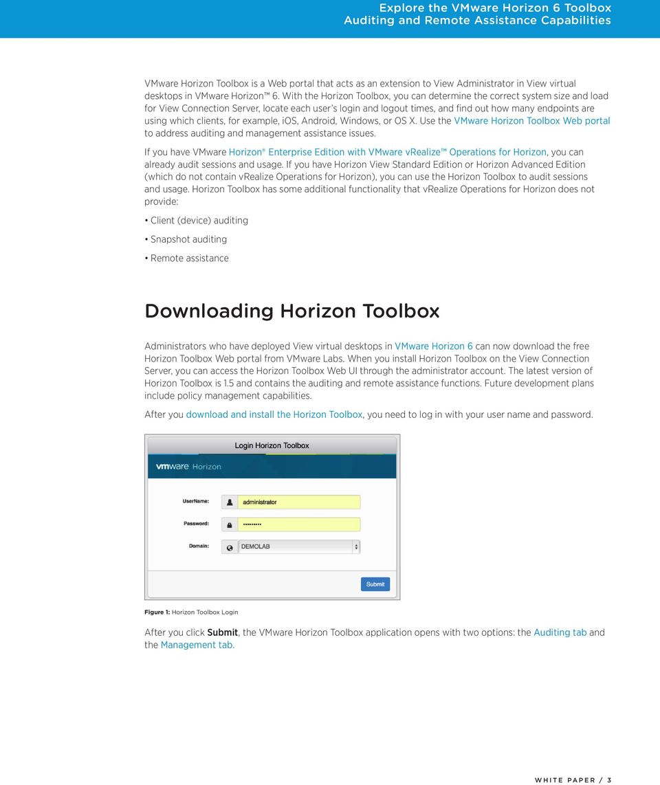 clients, for example, ios, Android, Windows, or OS X. Use the VMware Horizon Toolbox Web portal to address auditing and management assistance issues.