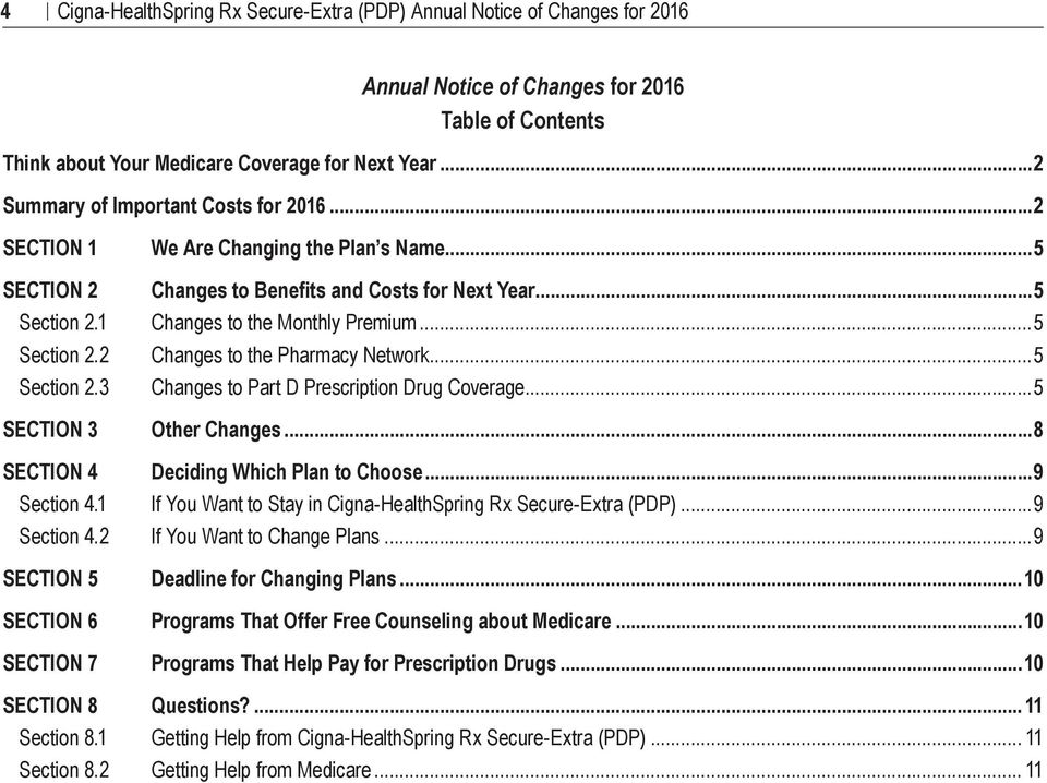 1 Section 8.2 We Are Changing the Plan s Name...5 Changes to Benefits and Costs for Next Year...5 Changes to the Monthly Premium...5 Changes to the Pharmacy Network.