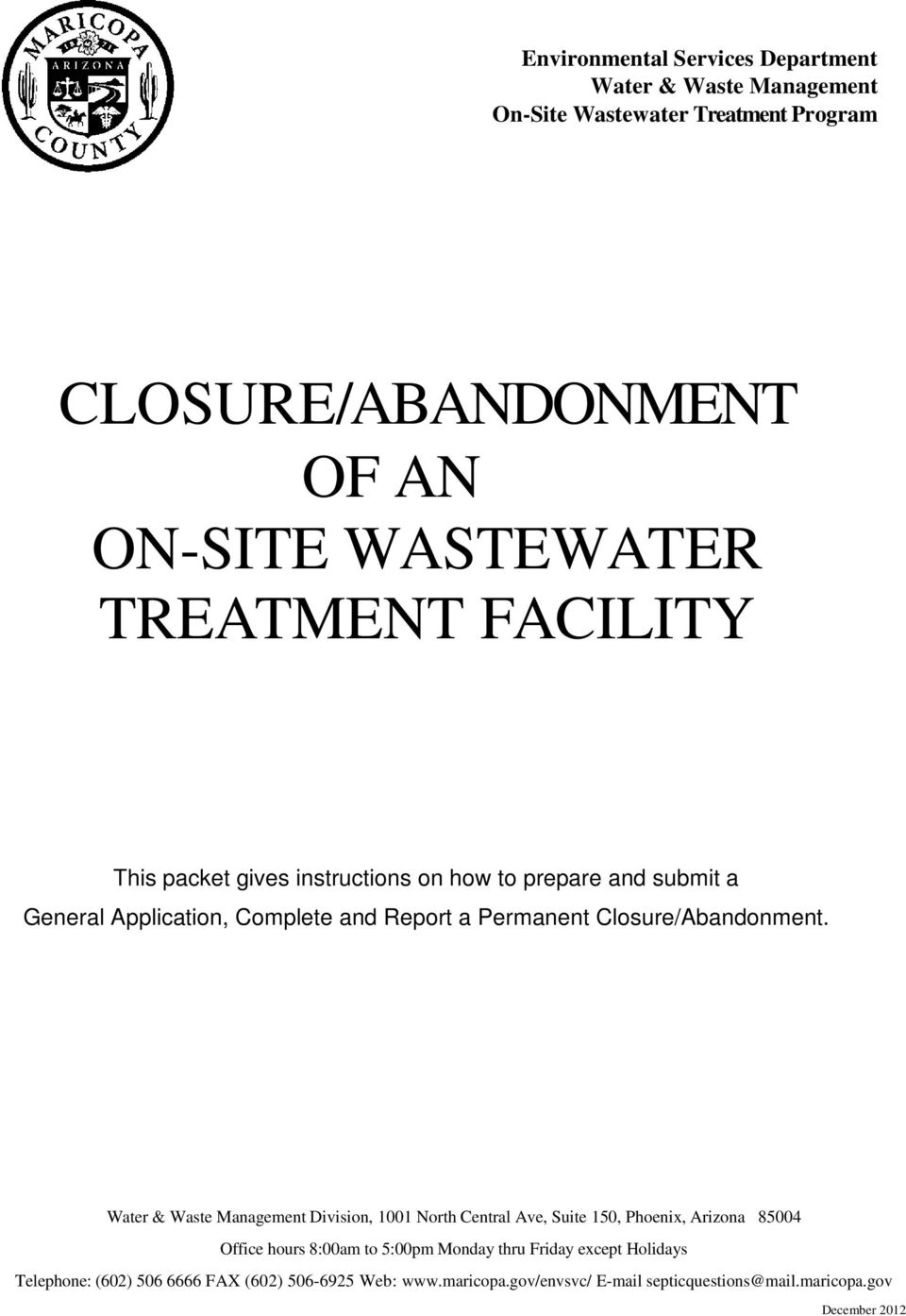 Closureabandonment Of An On Site Wastewater Treatment Facility Pdf