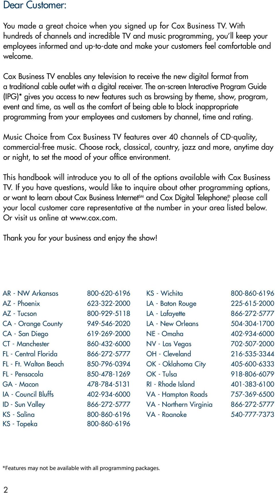 COX BUSINESS TV  Everything you need to know about Cox