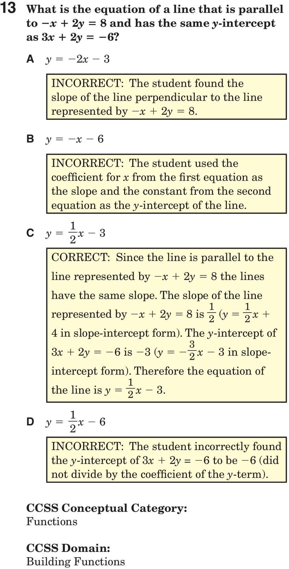 B y = x 6 INCORRECT: The student used the coefficient for x from the first equation as the slope and the constant from the second equation as the y-intercept of the line.