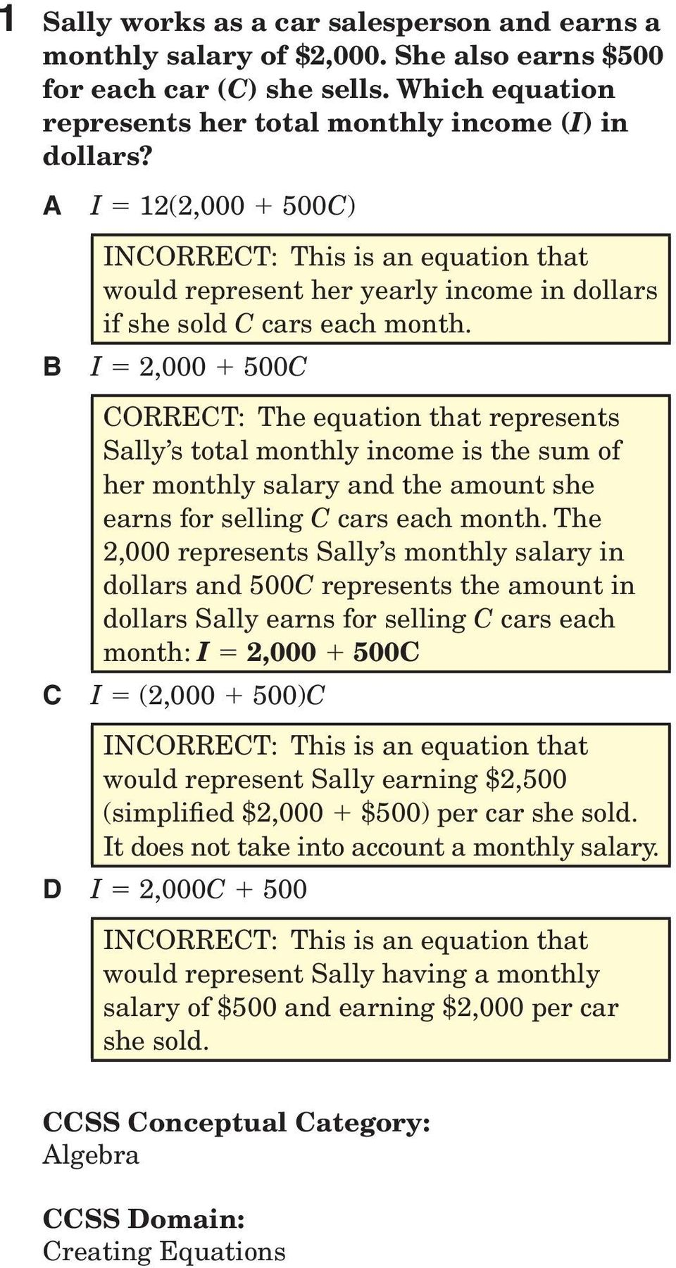 I = 2,000 + 500C CORRECT: The equation that represents Sally s total monthly income is the sum of her monthly salary and the amount she earns for selling C cars each month.