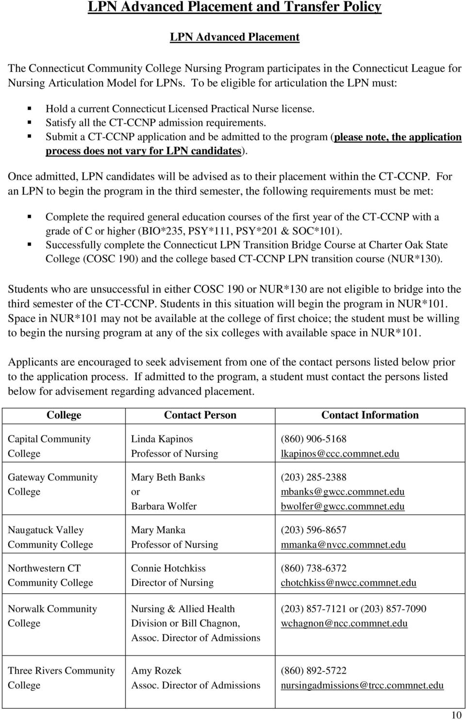 Submit a CT-CCNP application and be admitted to the program (please note, the application process does not vary for LPN candidates).