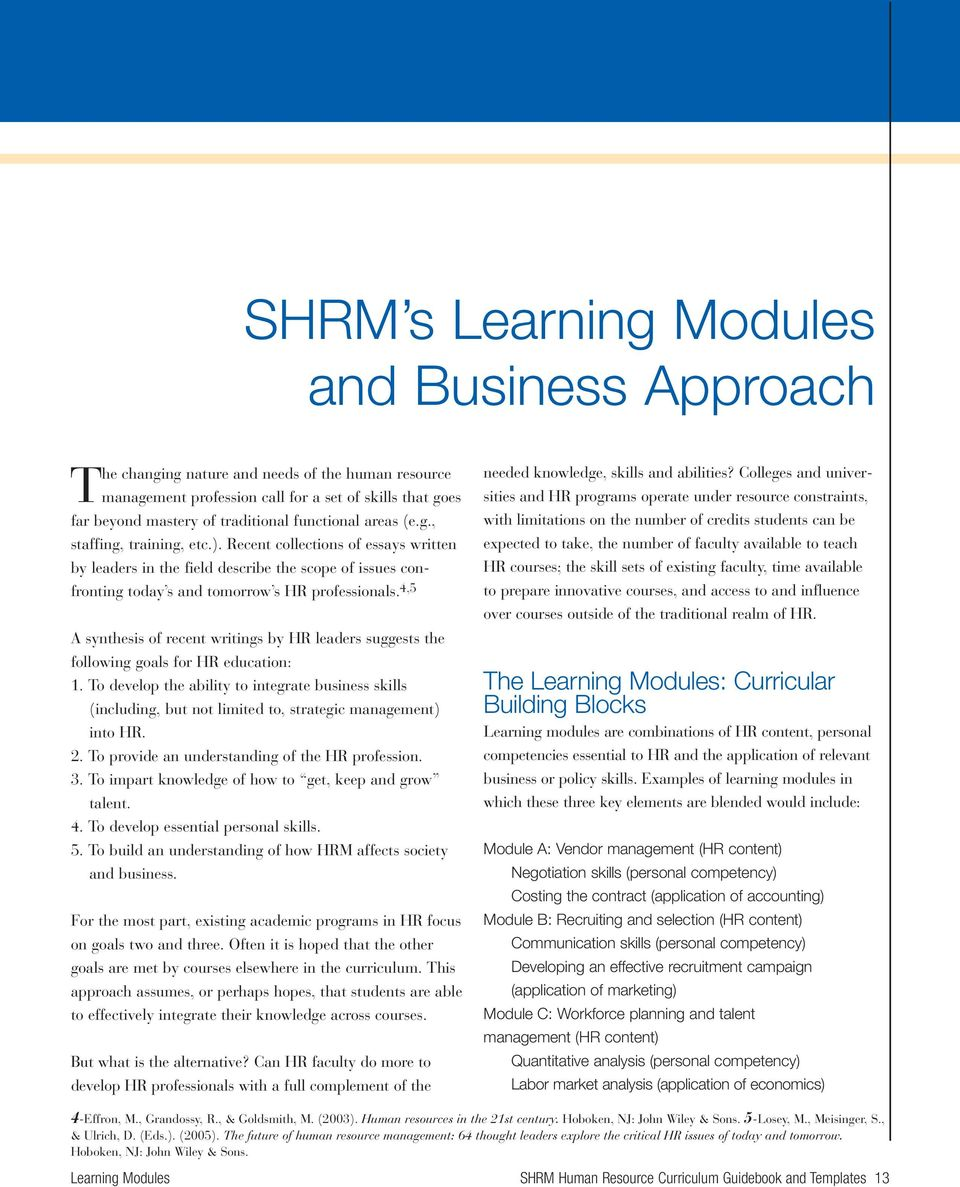 SHRM Human Resource Curriculum Guidebook and Templates for