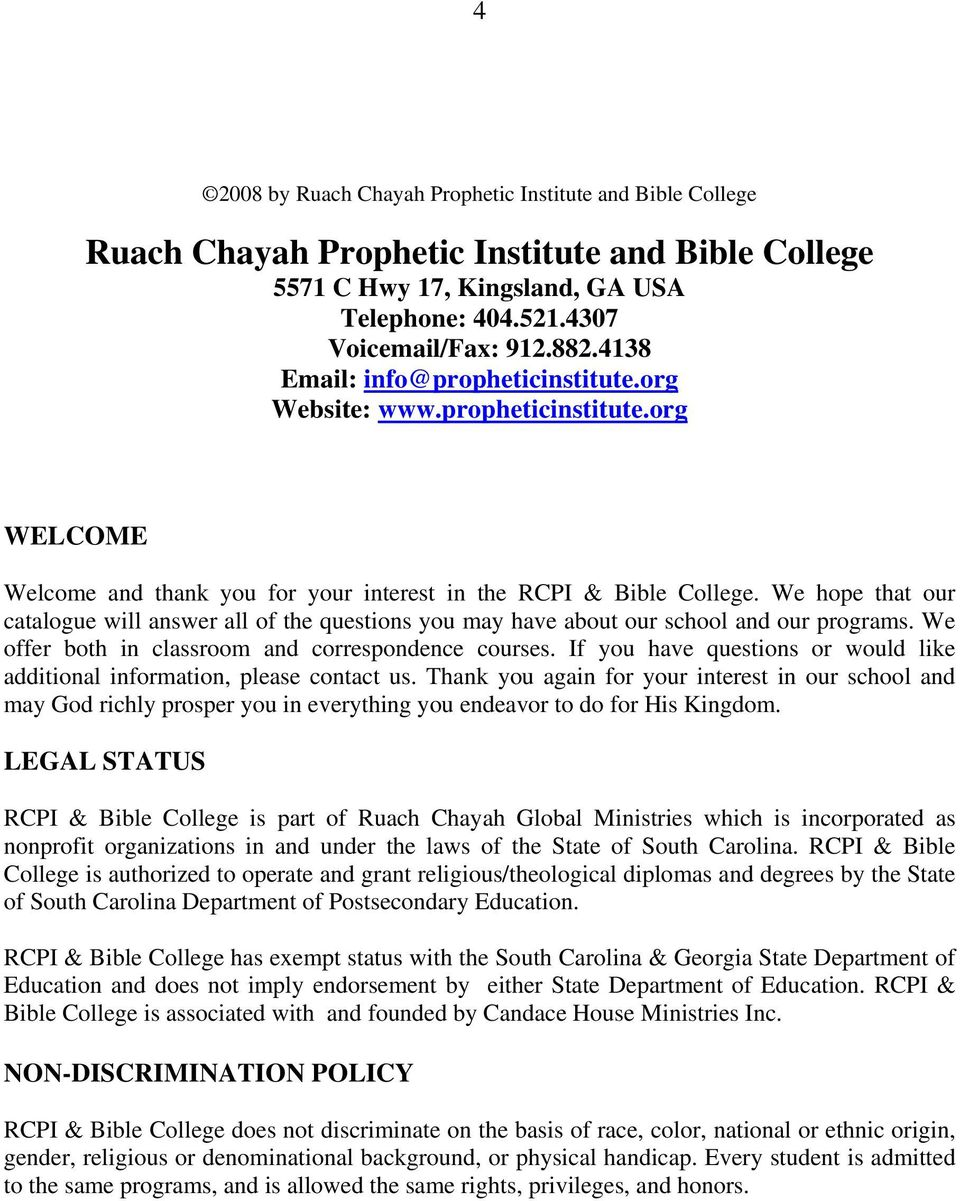 RUACH CHAYAH PROPHETIC INSTITUTE and Bible College Equipping