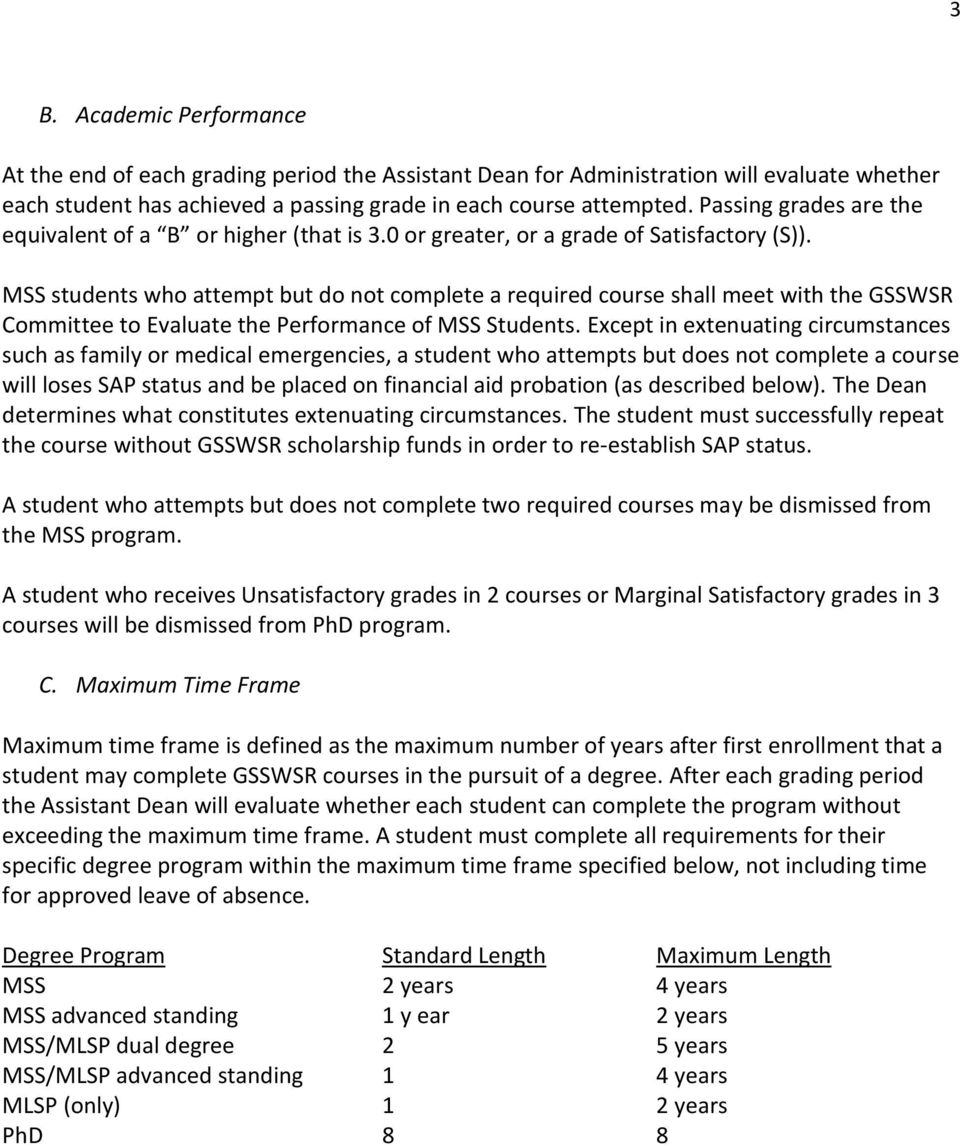MSS students who attempt but do not complete a required course shall meet with the GSSWSR Committee to Evaluate the Performance of MSS Students.