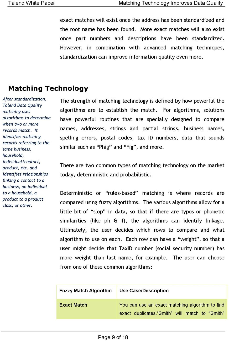 How  Matching Technology Improves  White Paper - PDF