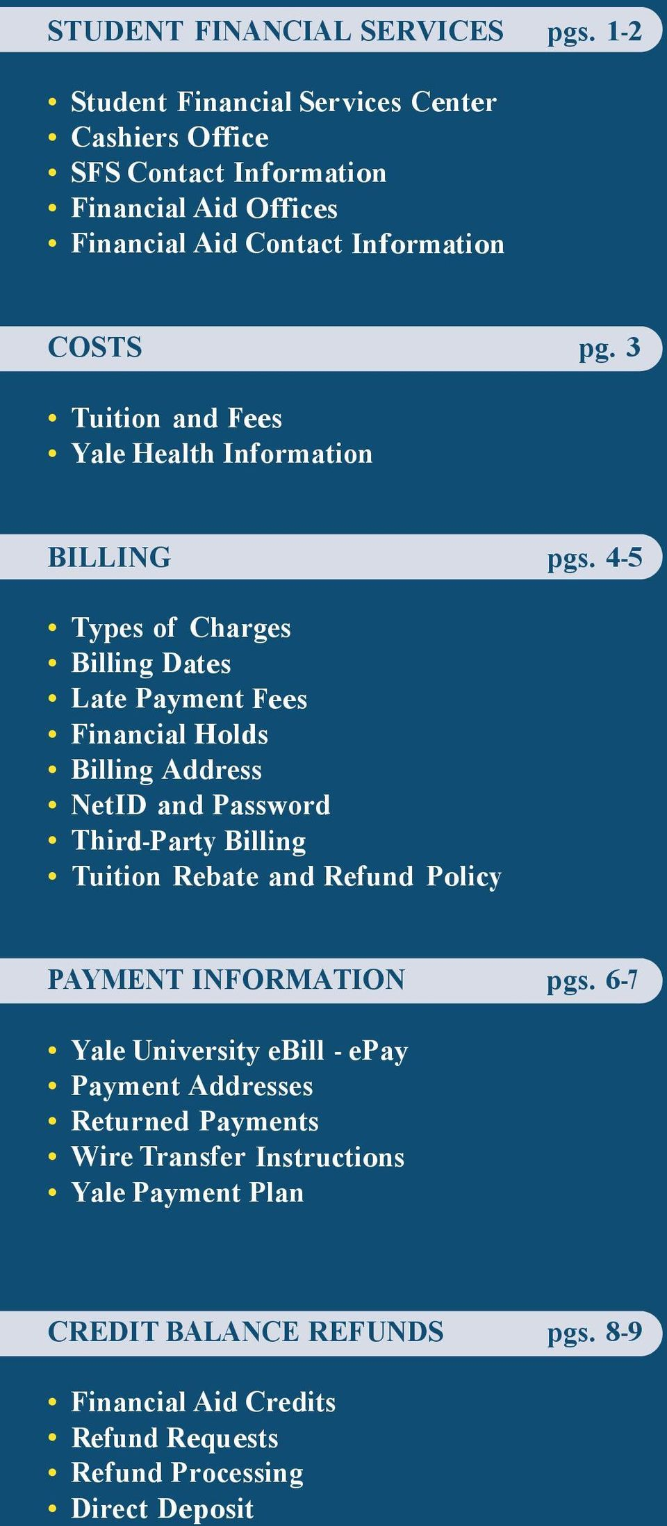 3 Tuition and Fees Yale Health Information BILLING pgs.