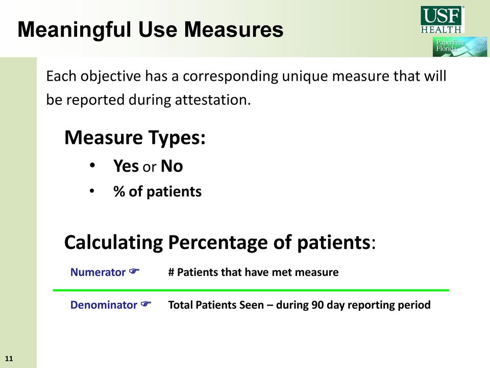 Measure Types: Yes or No % of patients Calculating Percentage of patients: