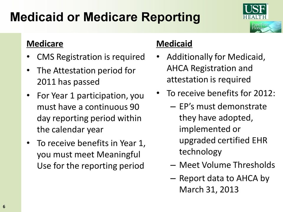 the reporting period Medicaid Additionally for Medicaid, AHCA Registration and attestation is required To receive benefits for 2012: EP s