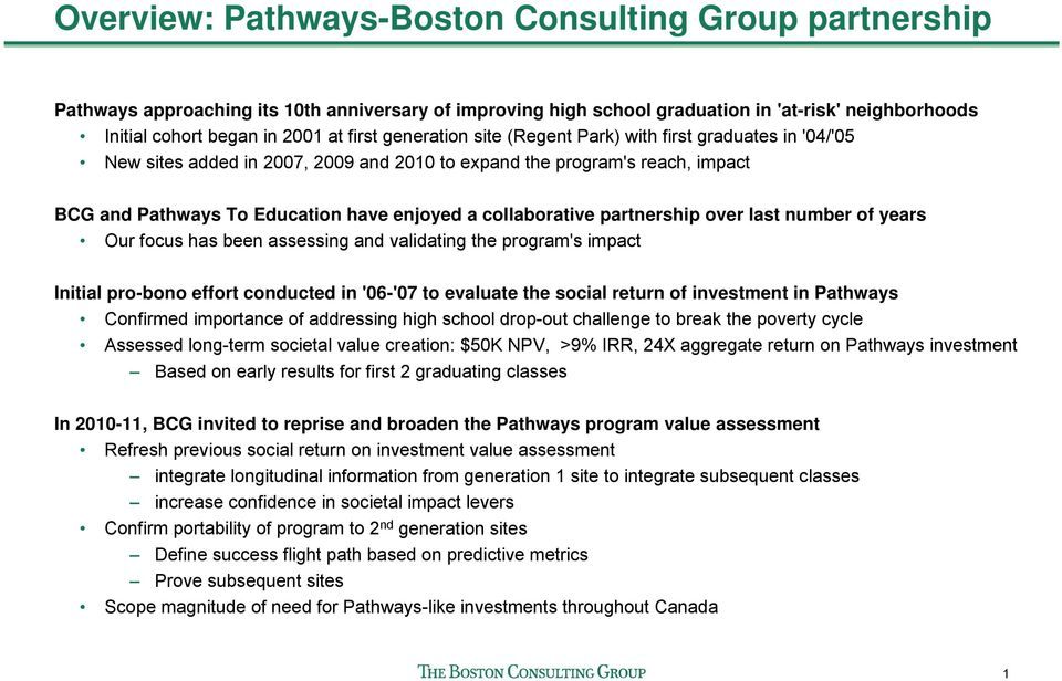 BCG Assessment of Pathways to Education Executive Summary  February PDF