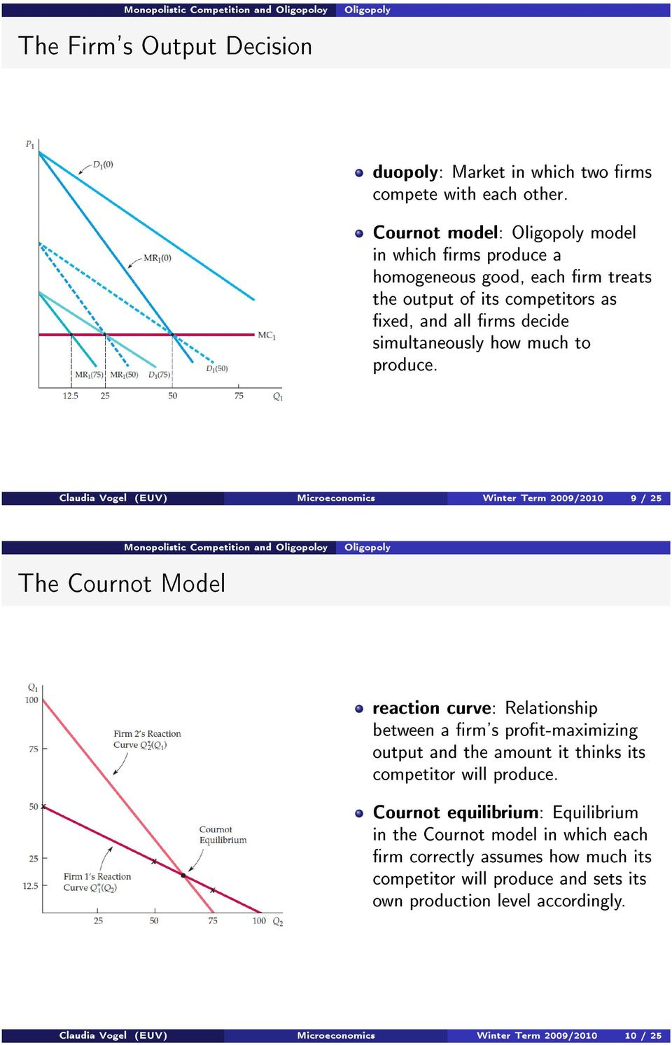 Claudia Vogel (EUV) Microeconomics Winter Term 2009/2010 9 / 25 The Cournot Model reaction curve: Relationship between a rm's prot-maximizing output and the amount it thinks