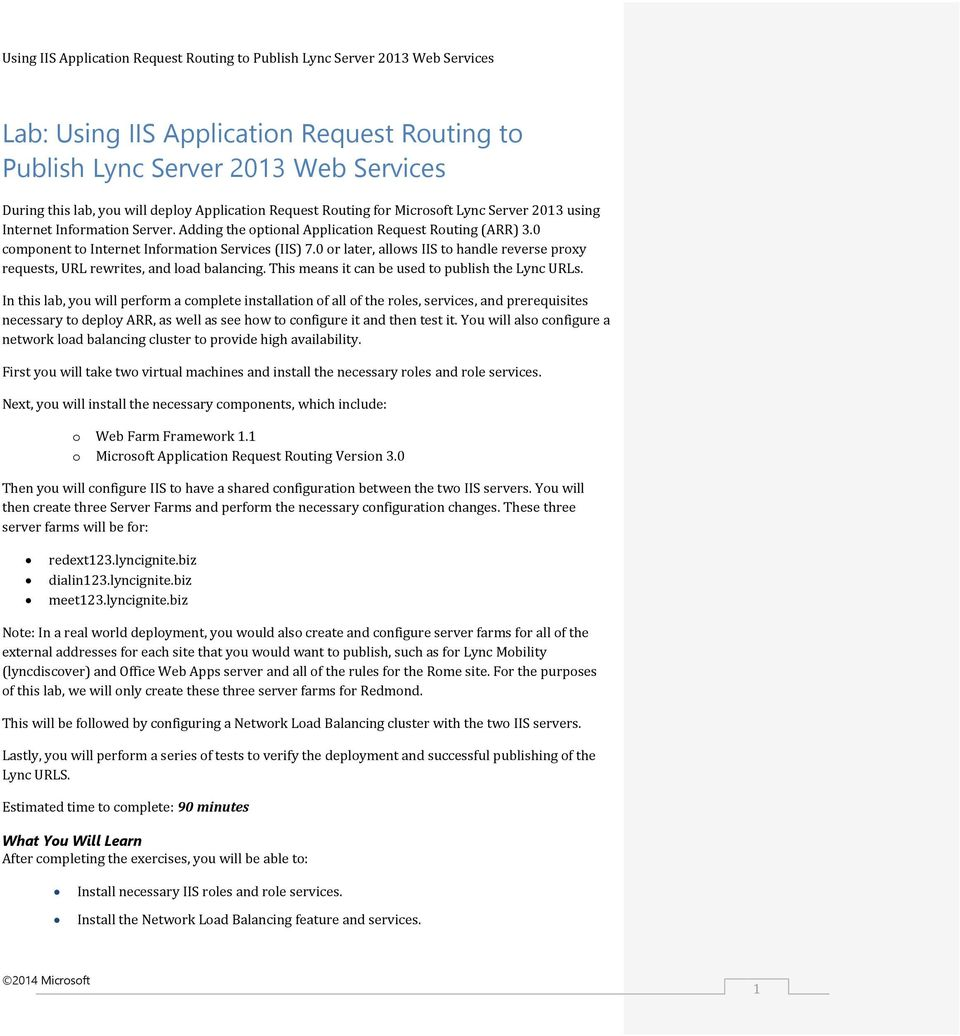 Using IIS Application Request Routing to Publish Lync Server