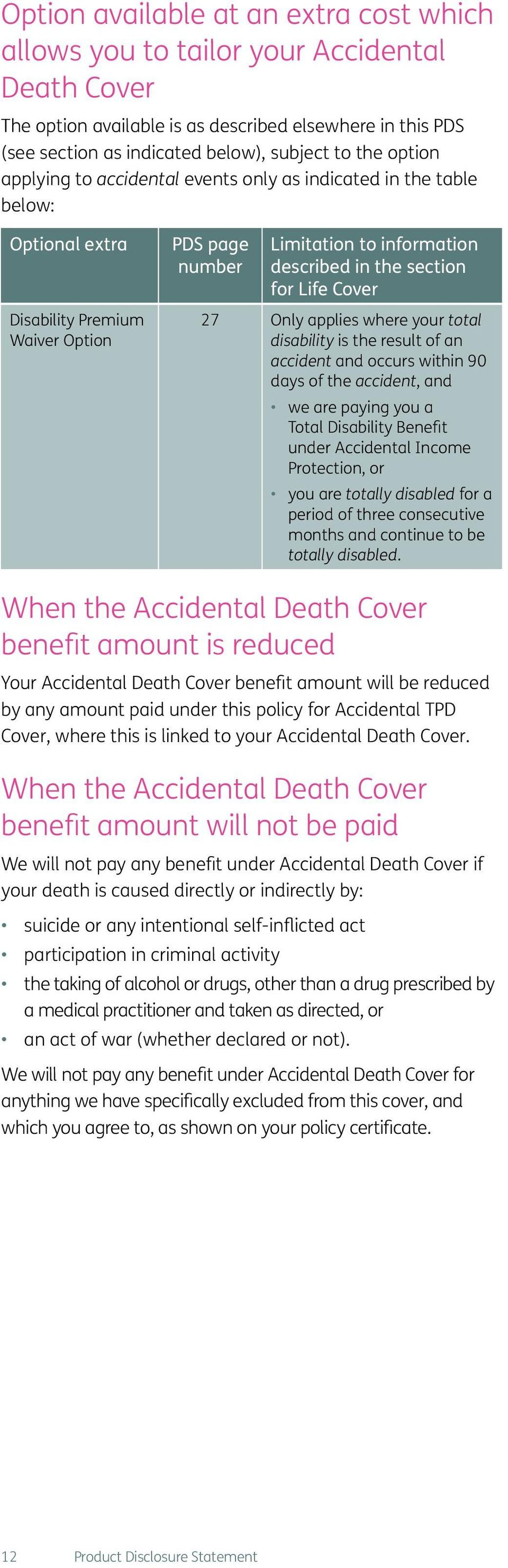 Cover 27 Only applies where your total disability is the result of an accident and occurs within 90 days of the accident, and we are paying you a Total Disability Benefit under Accidental Income