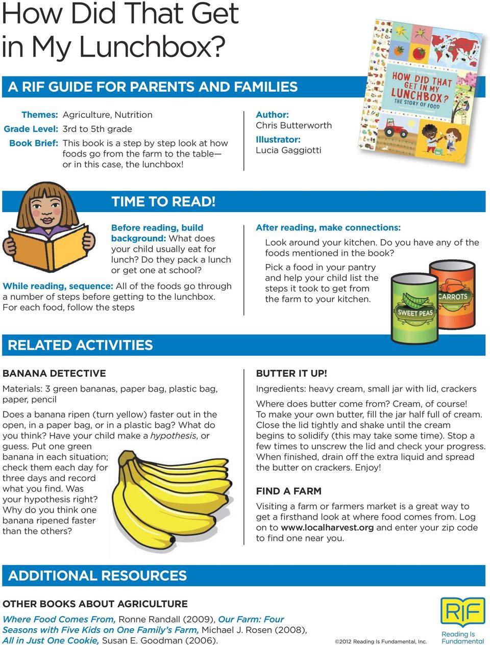 Do you have any of the foods mentioned in the book? Pick a food in your pantry and help your child list the steps it took to get from the farm to your kitchen.