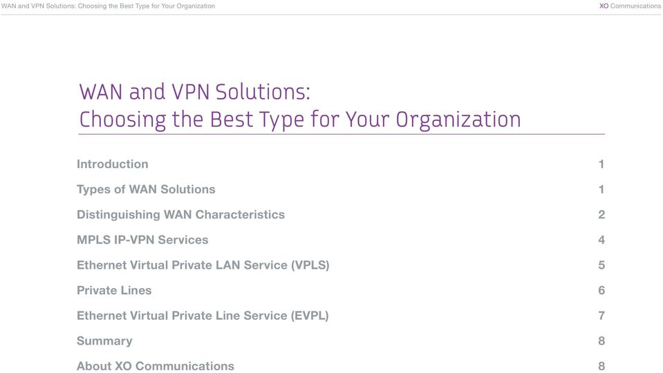 Distinguishing WAN Characteristics 2 MPLS IP-VPN Services 4 Ethernet Virtual Private LAN