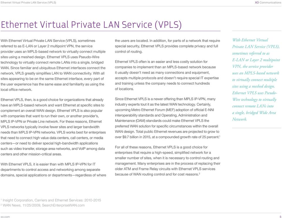 Ethernet VPLS uses Pseudo-Wire technology to virtually connect remote LANs into a single, bridged WAN.
