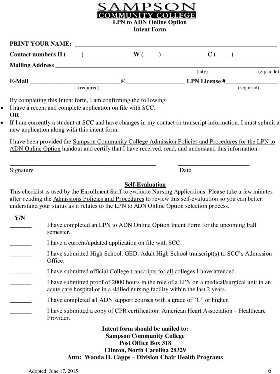 submit a new application along with this intent form.
