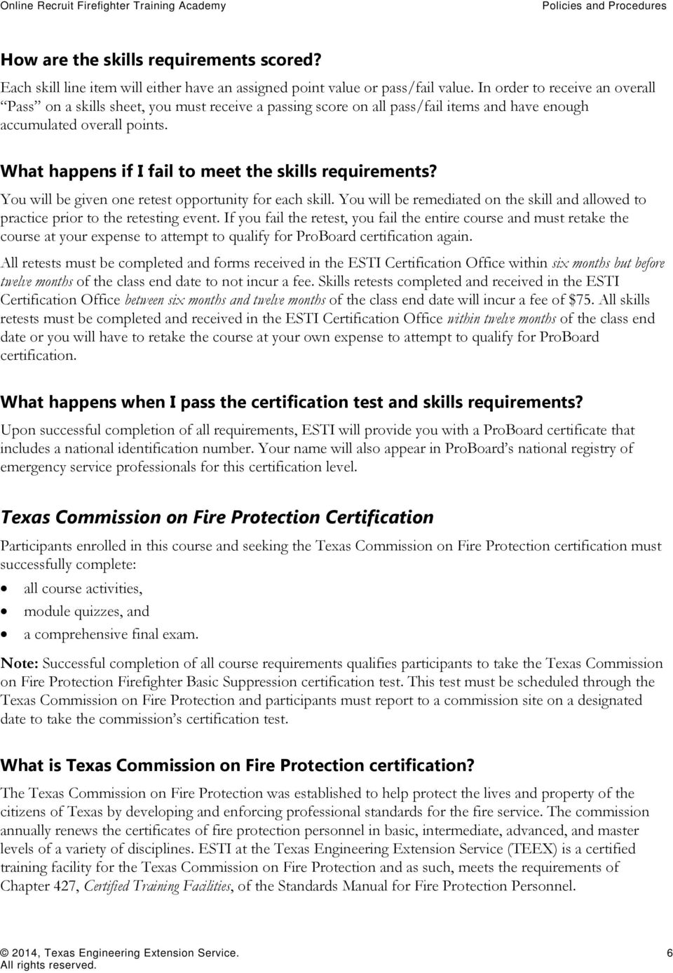 Online Recruit Firefighter Training Academy Policies And Procedures
