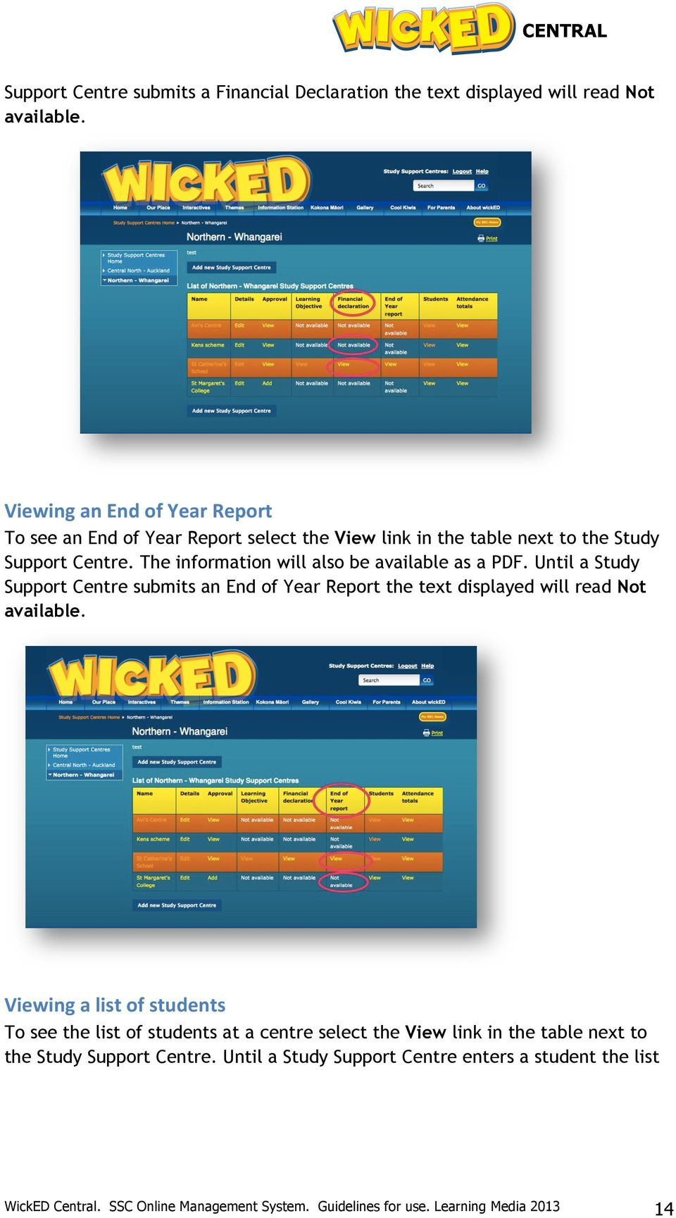 wicked Central an online management system for Study Support Centres