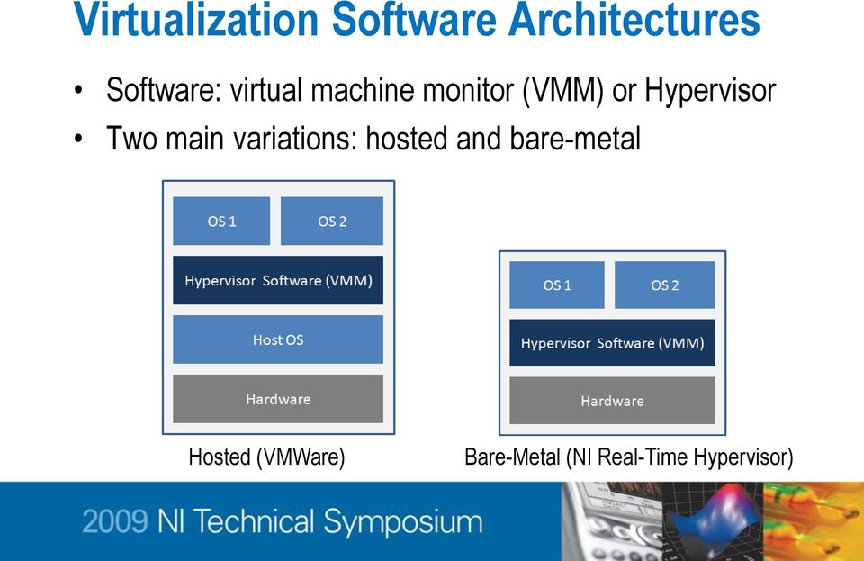 Hypervisor Two main variations: hosted and