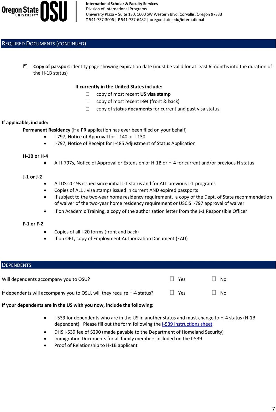 H-1B Application Checklist (submit as cover page) - PDF