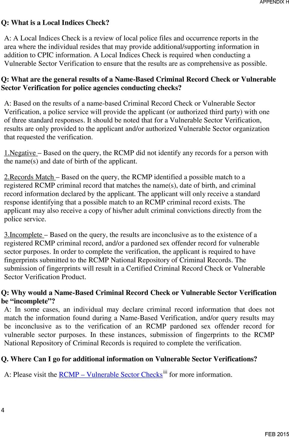 FACT SHEET  New Policy for Criminal Record Checks and